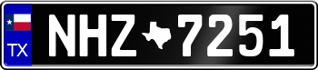 Texas Euro Style License Plate ffffff