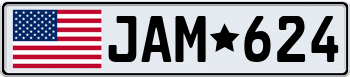 USA European License Plate 000000